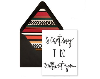 Bridesmaid Card and Lined Mexican Blanket Envelope