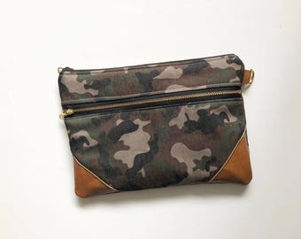 Camo double zip clutch with black and white striped interior