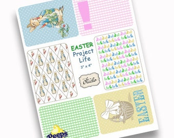 Easter Project Life Digital Downloads Pocket Cards, Peter Rabbit, Easter Basket, scrapbook clip art, DIY Easter printable