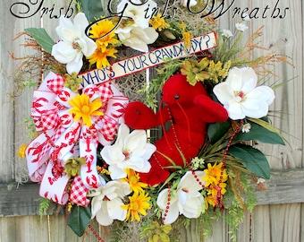 Who's Your Crawdaddy Wreath, Crawfish Boil wreath, Cajun Wreath, summer floral Swag, Magnolia, Spanish moss, Crawfish beads