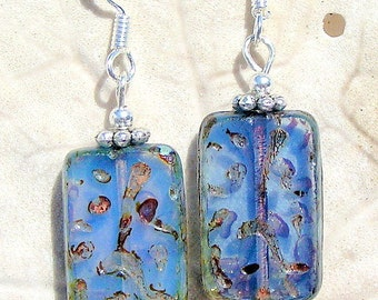 Silver Tone Earrings, Violet Blue Glass, Jewelry, Dangles, Sterling Silver Ear Wires
