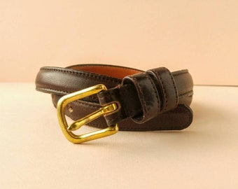 Coach Classic Dark Brown Leather Skinny Belt - Made in New York City - Size 26