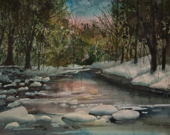 Spring Thaw, Watercolor Print, Snow, Trees, River, Green