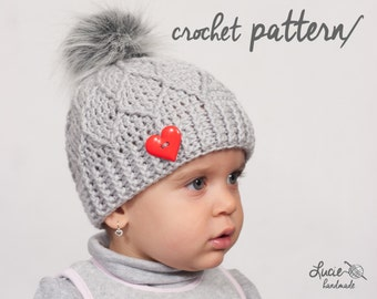 Crochet Hat PATTERN No.20 ** - Uni Diamond Winter Hat Crochet Pattern