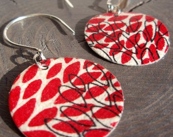 Bone and Red Modern Floral Earrings