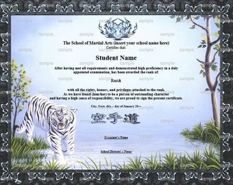 Tiger Prowel Martial Arts/Karate Rank Belt Certificate Template