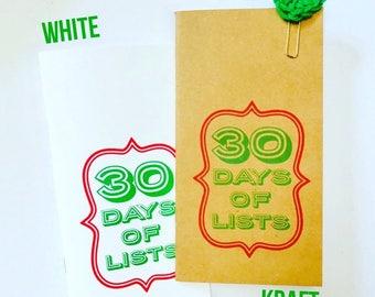 30 Days of Lists, December Lists,  Journal, Midori Travelers Notebook, Jotter, Refill Insert, Art Journal, List, Listing