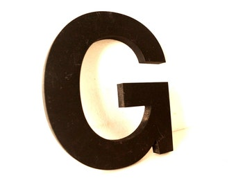 """Vintage Industrial Letter """"G"""" 3D Sign Letter in Black Heavy Plastic (5"""" tall) - Industrial Home Decor, Typography Letter, Altered Art"""