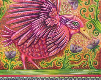 "Abundant In Beauty - an 8 x 10"" ART PRINT of a hot pink bird full of energy and joy as she runs amidst toasty oranges & lilac purples"