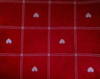 Furniture, red heart and taupe fabric coupon