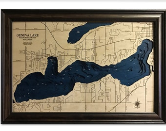 Geneva Lake Dimensional Wood Carved Depth Contour Map - Customize With Your Home Information