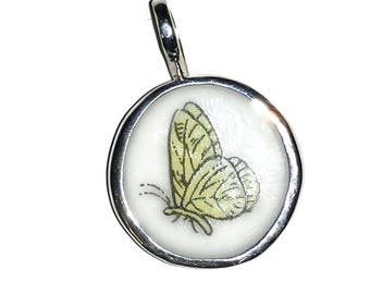 Broken China Pendant, Butterfly, Sterling Silver, Handmade, OOAK, Recycled