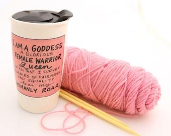 Parks and Recreation mug, parks and rec mug, large travel mug, pawnee goddess, leslie knope, resist mug, female empowerment