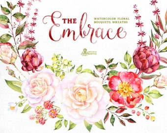 The Embrace. Watercolor Bouquets and Wreaths, roses, wedding invitation, floral, greeting card, diy clip art, flowers, romantic, christmas