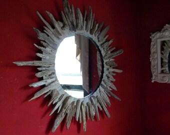 """30"""" Driftwood Sunburst Mirror Beach Decor Cottage"""