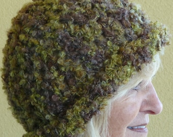 Women's winter hat in mossy green, so comfortable it will bring you head joy, original and unique crochet hat, versatile style, super warm