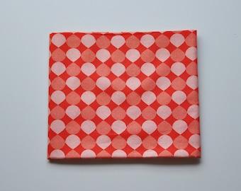 Coupon tissu popeline - coupon 45x48cm - motif graphique gouttes - orange, rouge orangé