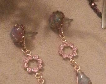 Titanium Posts Opal Glass Jewel Earrings Interchangable Dangle, Brass Vintage Connectors, Romantic