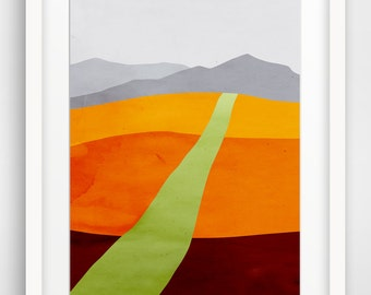 Abstract Landscape Art Print, Large Wall Art, Mid Century Art, Modern Abstract Art, Landscape Print, Fine Art Print