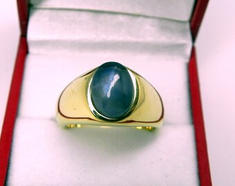 AAA  Blue Star Sapphire   10x8mm  4.85 Carats   Heavy 18K Yellow gold MAN'S ring 20 grams. 2543