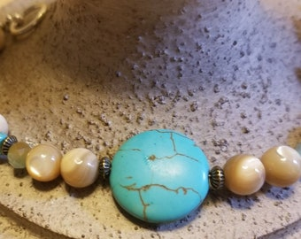 Turquoise Mother Of Pearl Charm Bracelet