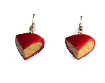 Cheese Earrings, realistic food jewelry, cheese jewelry