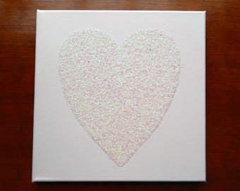 Large Glitter Heart Canvas