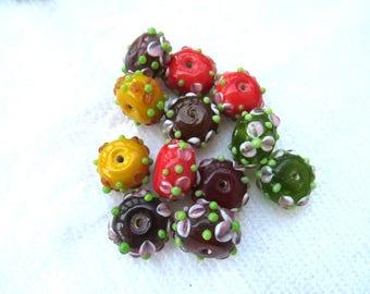 12 Handmade Rondelle Lampwork Glass Beads 18 x 11mm (B280h)