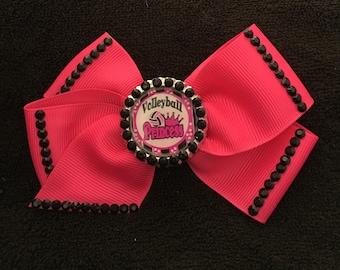 Dark Pink And Black Volleyball Princess Hair Bow
