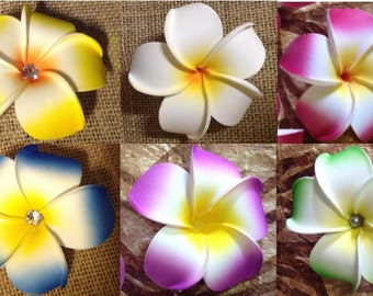 "PLUMERIA FLOWER. Approximately 4"" Plumeria/Frangipani Foam Flower (6 Different Colors)"