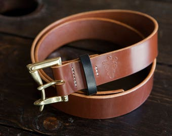 "1.5"" Hazel Sedgwick Bridle Quick Release Belt with Brass or Black Hardware and Black Bridle Keeper"