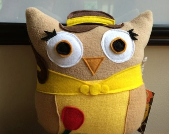 Belle Owl- Inspired by Beauty and the Beast- Mini Belle plush Owl-Princess Plush Owls
