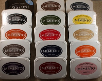 INK PAD~Stamp~Ink pads for rubber stamping~Memento~20 colors~dye ink pad~fabric~paper~red~blue~green~brown~Fast drying ink Memento TSUKINEKO