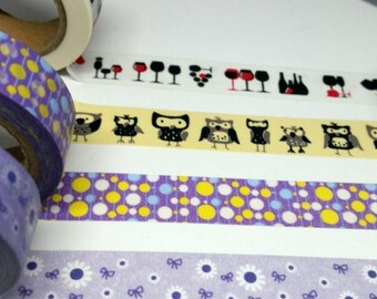 Washi sample - Wine washi - Owl washi - Retro washi - Purple ribbon washi - Flower washi - washi tape sample - 24 inch washi tape sample