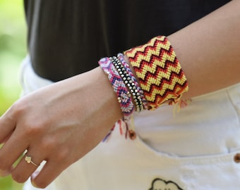 Boho Friendship Braid Woven Bracelet whole set of 4 on the pictures