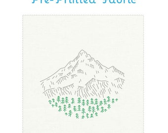 MT HOOD pre-printed fabric for embroidery, Portland embroidery pattern, landscape embroidery, modern embroidery design by StudioMME