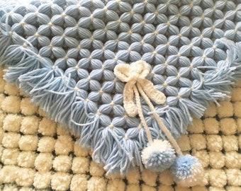 Pom Pom Blanket, Baby Crib Blanket, Baby Shower Gift, Stroller Blanket