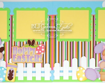 2 Premade Easter Bunny Scrapbook Pages 12x12 Layout Paper Piecing Handmade 64
