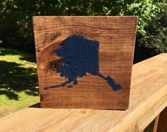Custom State Wood Block, hand painted state wood block, choose your state wood black, home state decor