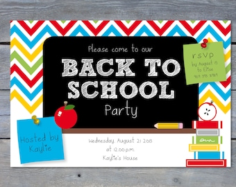 """BACK To School Party Printable Invitation: Personalized - 6""""x4"""" - Print Your Own - DIY"""