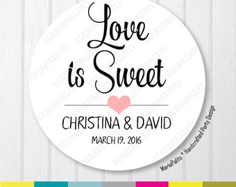 Wedding Stickers, Love Is Sweet Wedding Stickers, Thank You Labels, PRINTED round Stickers, tags, Labels or Envelope Seals A1267