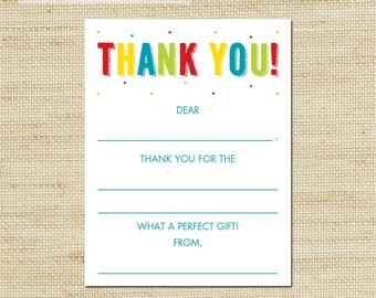 Rainbow Fill In Thank You Cards kids blank note cards