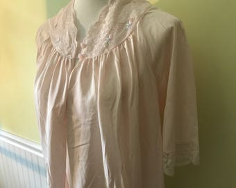 Vintage 1970's Silky Blouse w/ Lace Collar Size S