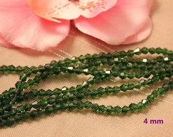 Lot 50 Crystal Bicone 4mm Green faceted bicone beads