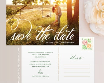 Fancy Script Photo Save the Date Postcard / Magnet / Flat Card - Save the Date Magnet, Photo Wedding Magnet, Rustic Save the Date