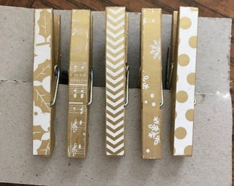 Decorated clothes pin magnets
