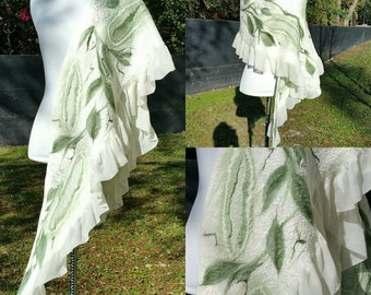 Nuno Felted Scarf. Woodland Fairy Shawl. Cottage Chic Bridal Wrap.  Luxurious Evening Shawl. Cashmere Soft.  Ivory and Moss Green Silk.