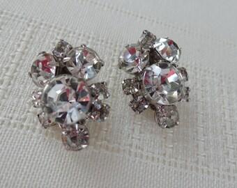 Rhinestone Earrings, Clip On Earrings, Fancy Earrings, Formal Earrings, Bridal Earrings, Wedding Earrings