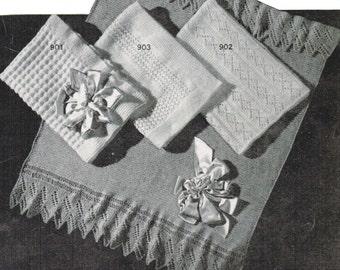 Vintage Baby Afghan Patterns PDF / Set of 4 Monarch baby blanket patterns / Baby shawl knitting patterns / PDF / Prinsesseteppet