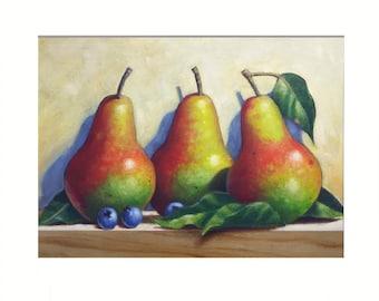 Pears painting, Fruit Painting, Original Painting, Small Painting, Original Oil Painting, Small Oil Painting, Still Life Painting,